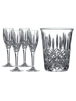Champagne bucket and four flutes