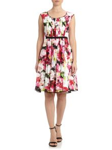Adrianna Papell Cap sleeve floral fit and flare dress