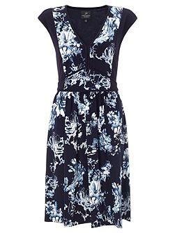 Cap sleeve fit and flare floral dress