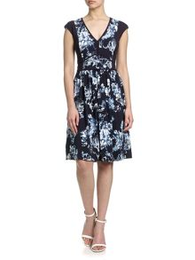 Adrianna Papell Cap sleeve fit and flare floral dress