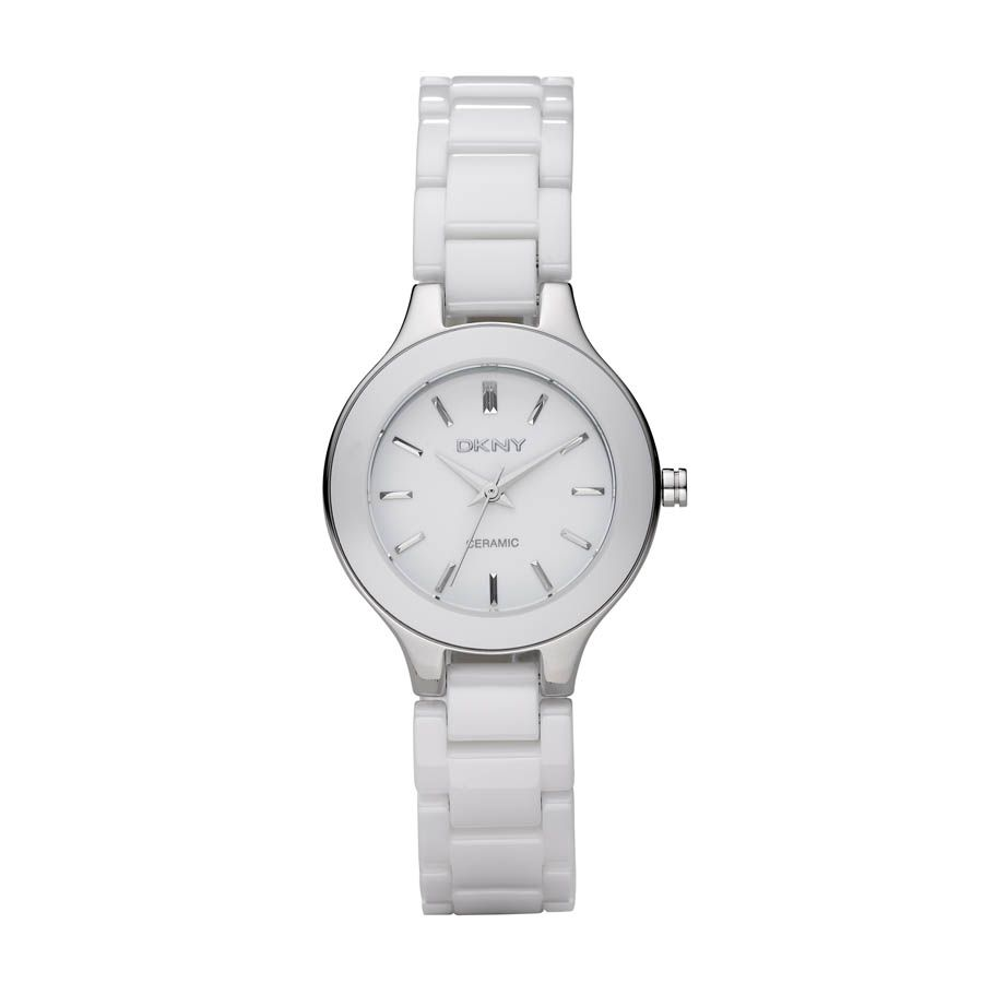 NY4886 Chic ladies white ceramic bracelet watch