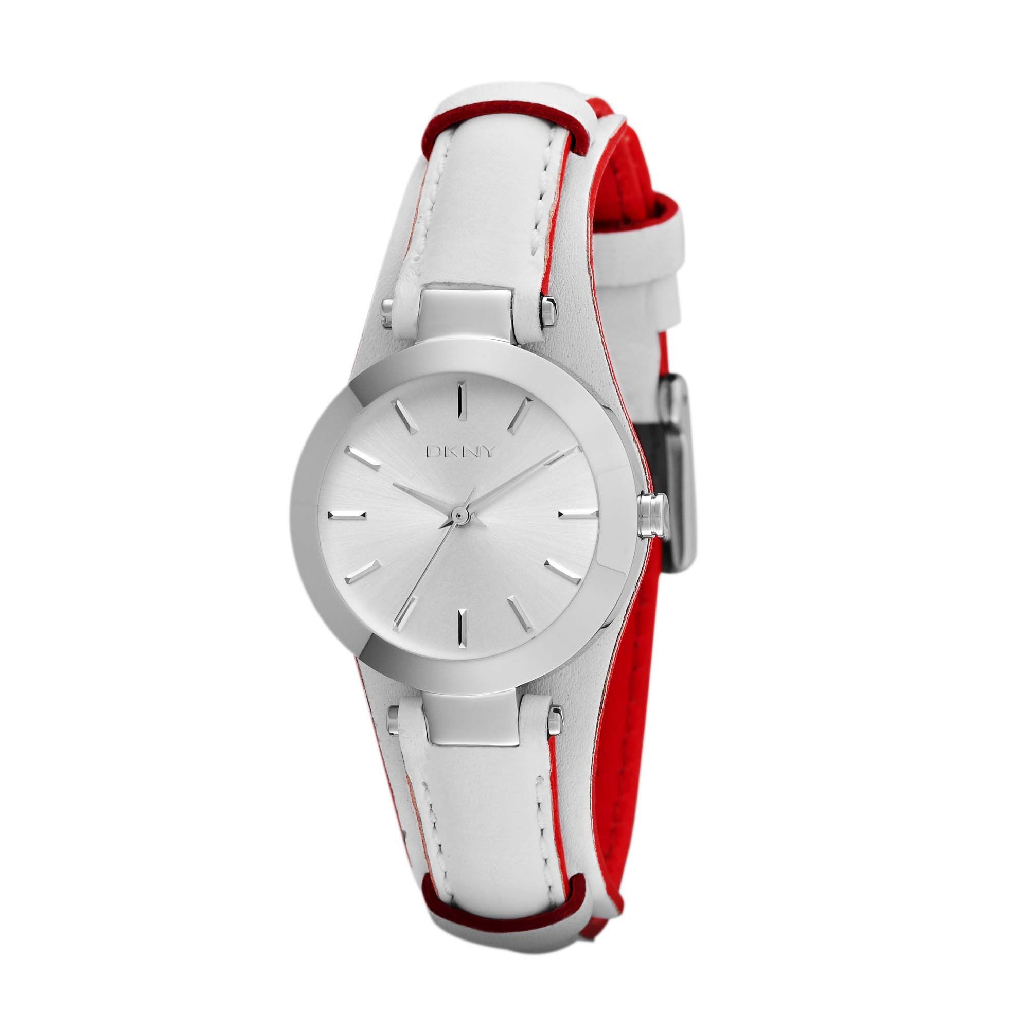 NY8749 Essentials White Leather Ladies Watch