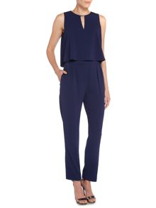 Layered jumpsuit with keyhole detail