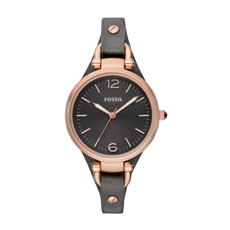 Fossil ES3077 Georgia Grey Leather Ladies Watch