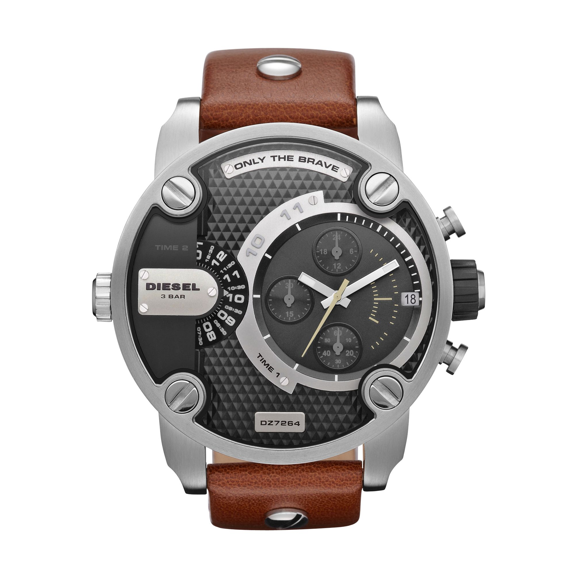 DZ7264 Little Daddy Tan Leather Mens Watch
