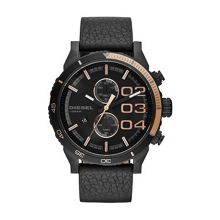 Double Down Black Leather Mens Watch