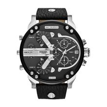 Diesel Mr Daddy Black Leather Mens Watch