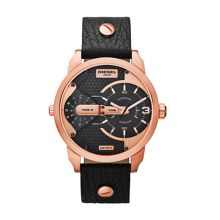 Diesel Mini Daddy Black Leather Mens Watch