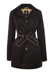Belted jacket with detachable hood