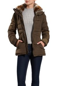 Halifax Traders Quilted Jacket with Faux Fur Collar