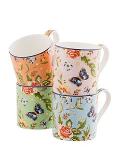 Cottage garden windsor mugs set of 4