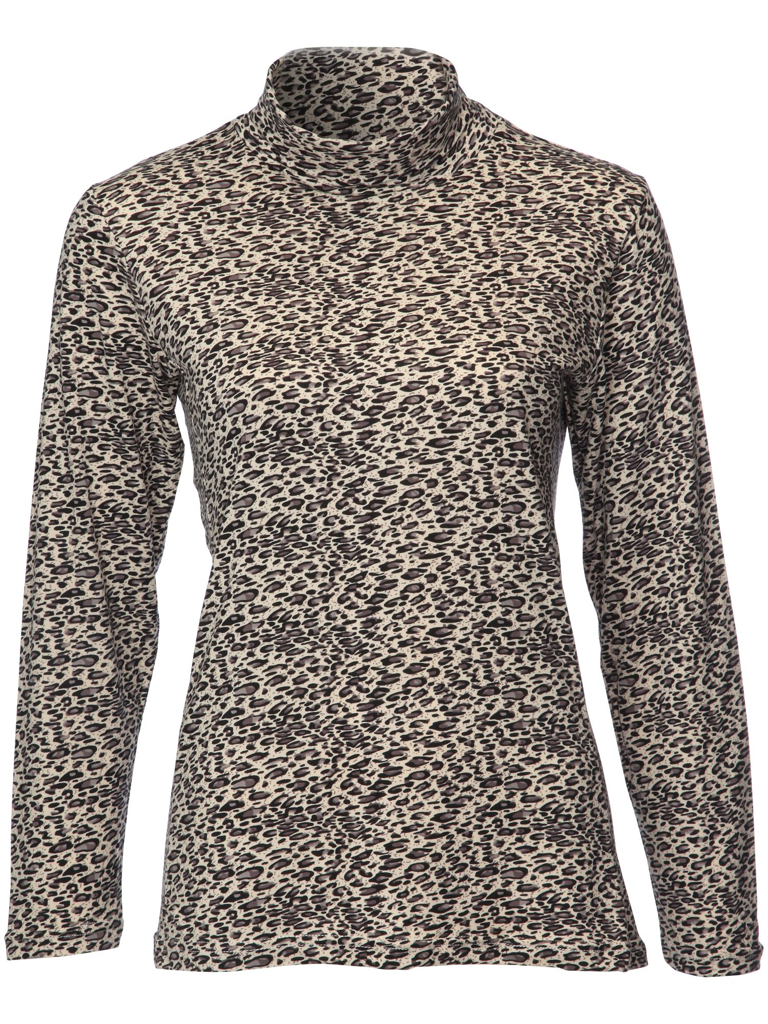 Swing Out Sister Pardus Print Roll Neck, Cream