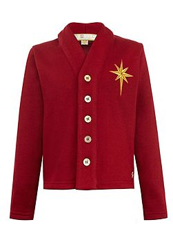 Boys: Stephen`s Maroon Star Cardigan