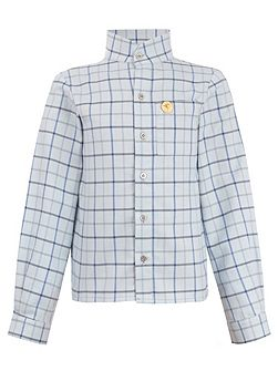 Boys: James`s Collarless Blue Country Shirt