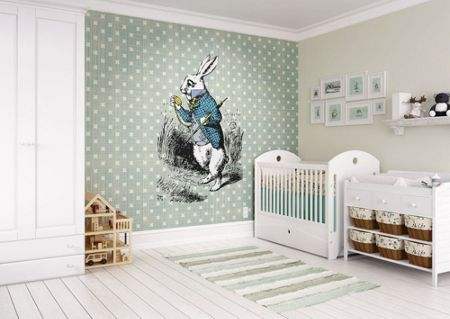 Graham & Brown Alice In Wonderland White Rabbit Wall Mural