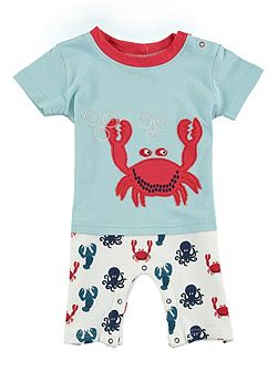 Crab Applique Shorty Romper