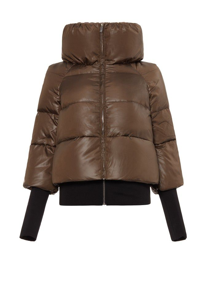 Carolina Cavour Carolina Cavour Down Solid Jacket With Funnel Neck, Green