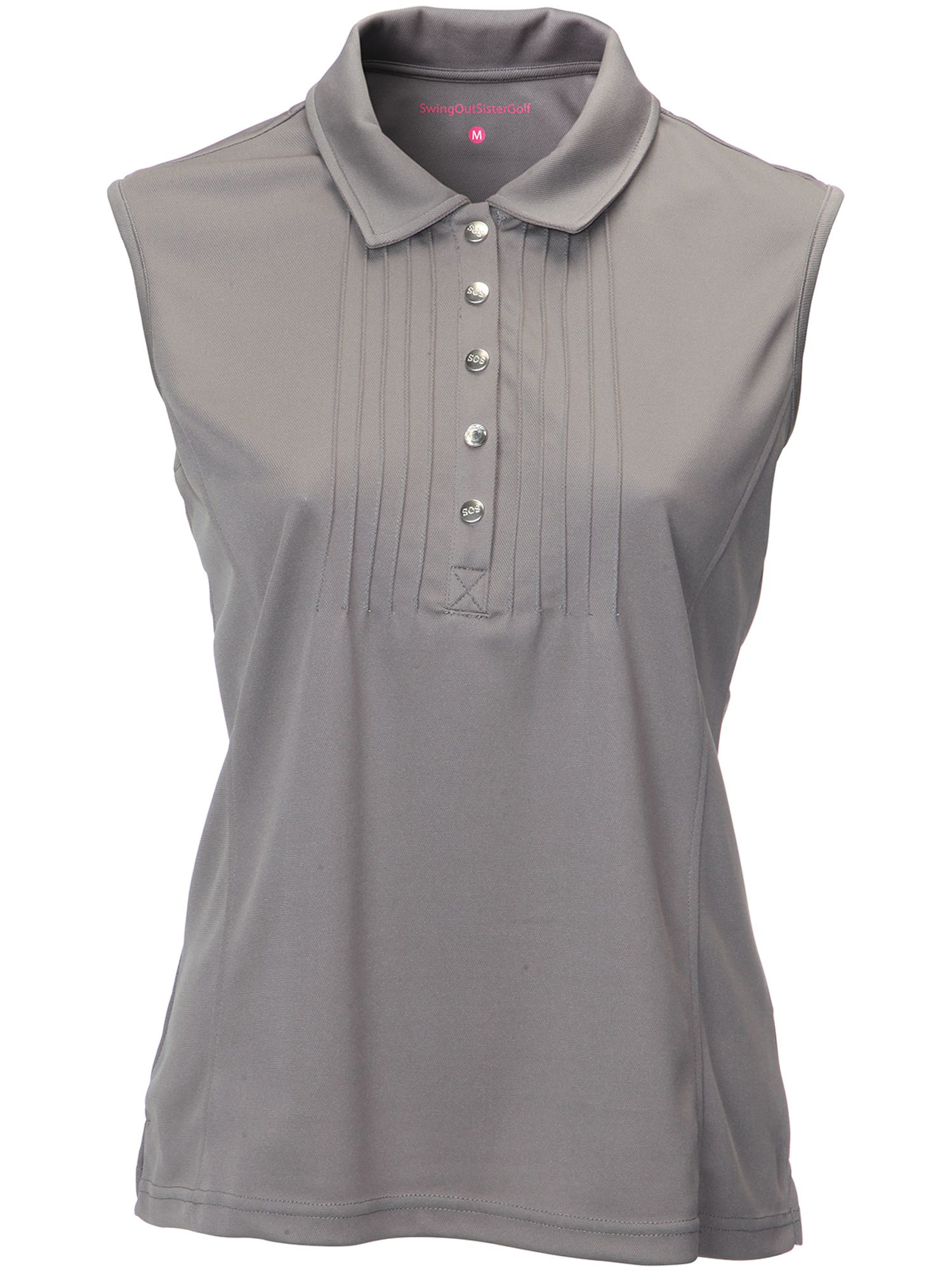 Swing Out Sister Adele Pique Sleeveless Shirt, Grey