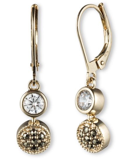 JUDITH JACK Crystal and Marcasite Drop Earrings