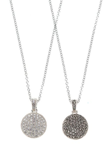 JUDITH JACK Two Sided Marcasite Disc Necklace