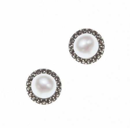 JUDITH JACK Pearl Marcasite Button Earrings