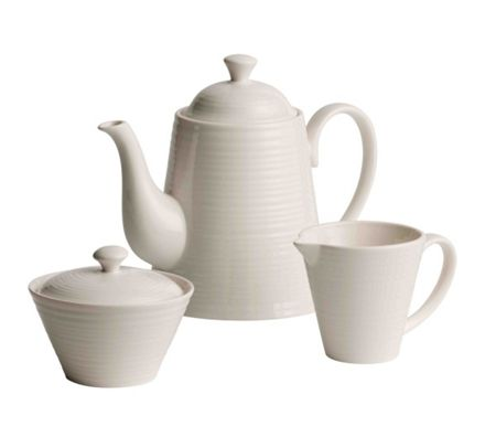 Belleek Living Ripple beverage pot, sugar and cream set