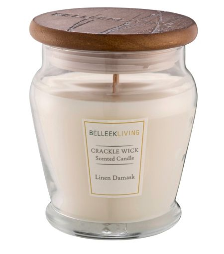 Belleek Living Linen damask cracklewick candle