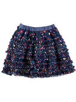 Girls Floral Print Layered Skirt