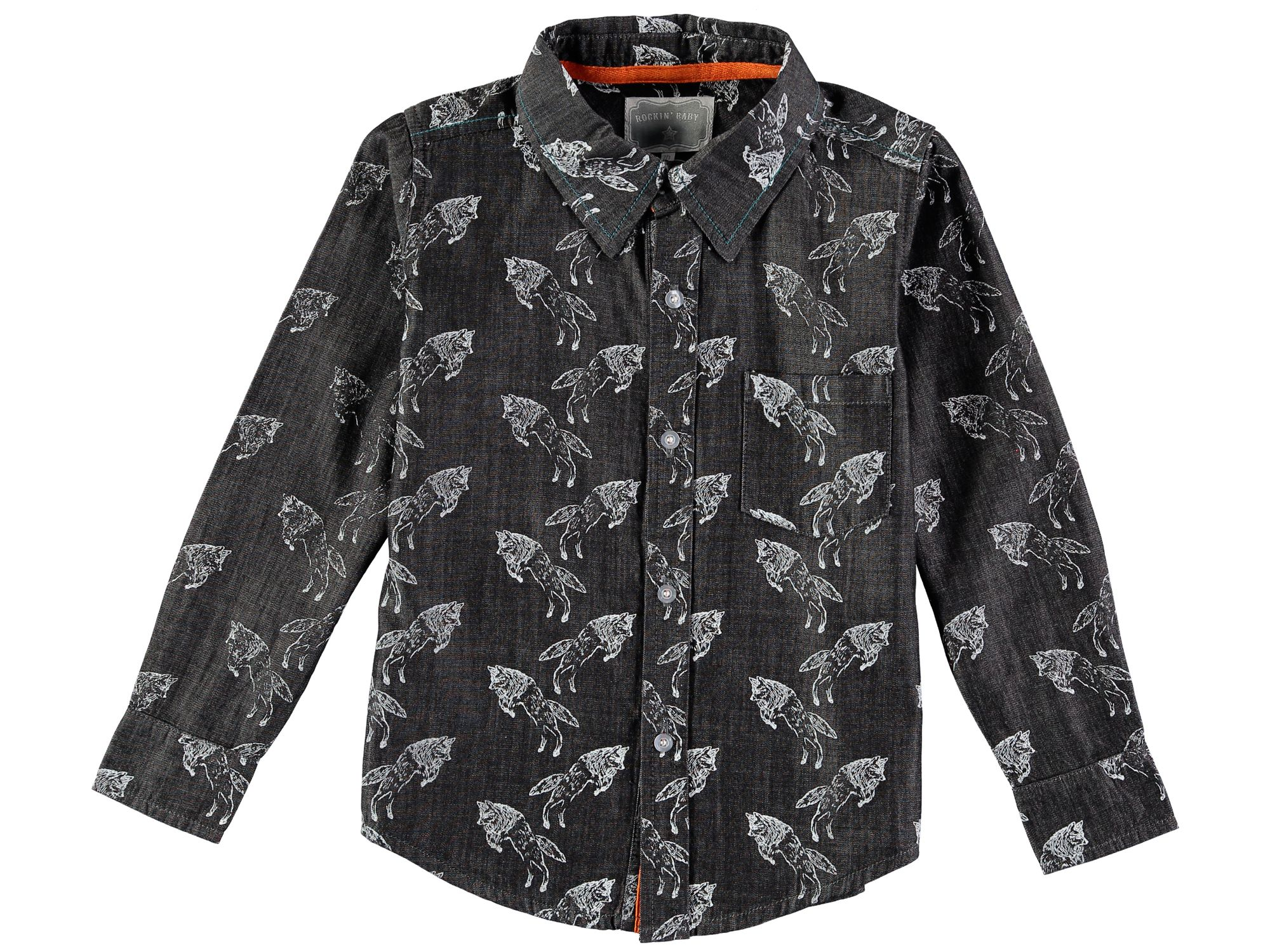 Rockin' Baby Rockin' Baby Boys Long Sleeve Wolf Print Shirt, Grey