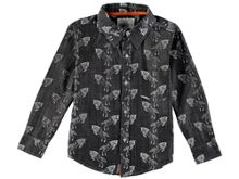 Rockin' Baby Boys Long Sleeve Wolf Print Shirt