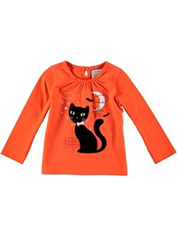 Girls Long Sleeve Creepy Cat T-Shirt