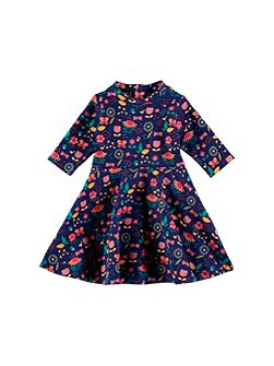 Girls Navy Print Dress