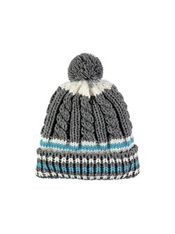 Grey Multi Stripe Bobble Hat