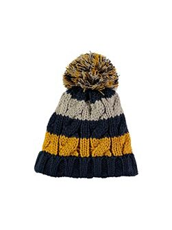 Navy Stripe Bobble Hat