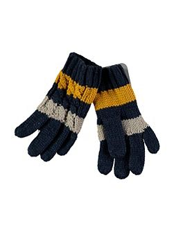 Navy Stripe Gloves