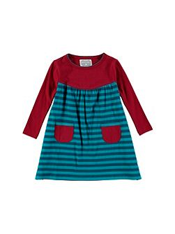 Girls Wine Stripe Dress