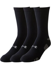 Under Armour 3 Pack Heatgear Plain Crew Socks