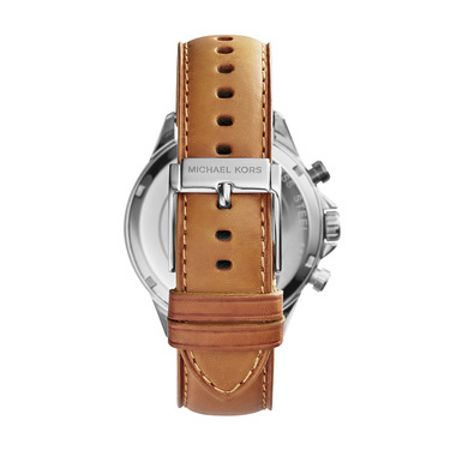 Michael Kors Gage Leather Mens Military Watch