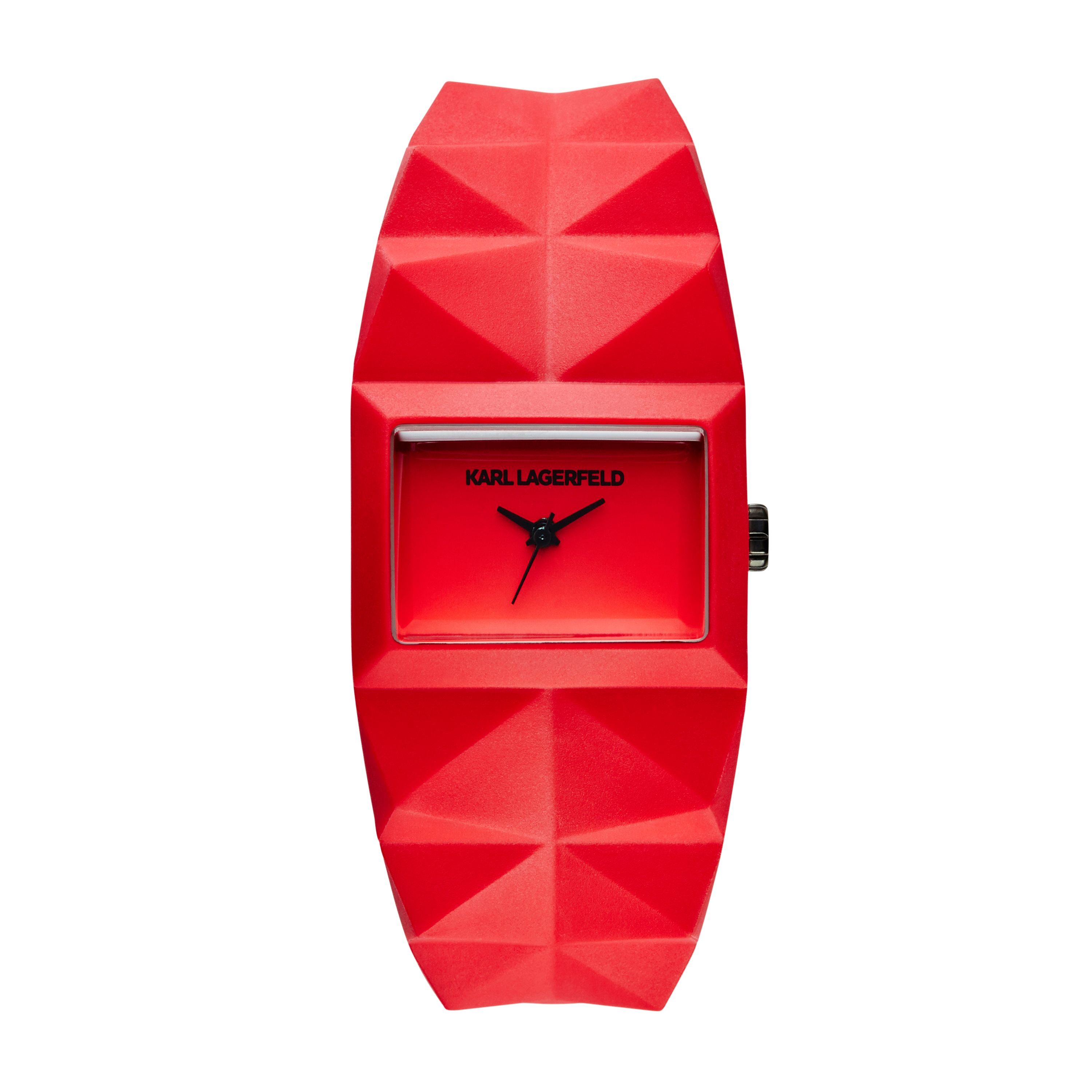 Red Rubber Strap Watch