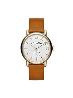 Mbm1316 baker ladies brown leather strap watch