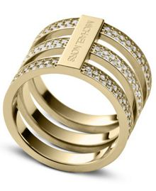 Brilliance Gold Crystal Ring - Ring Size L - S/M