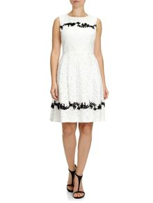 Sleeveless floral detail lace dress