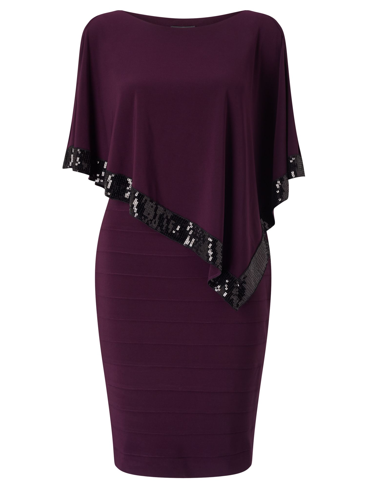 Adrianna Papell Sleeveless popover sequin cocktail dress, Purple