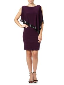 Adrianna Papell Sleeveless popover sequin cocktail dress