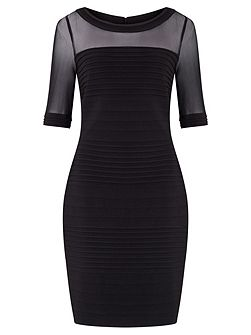 Pin tuck sheath dress