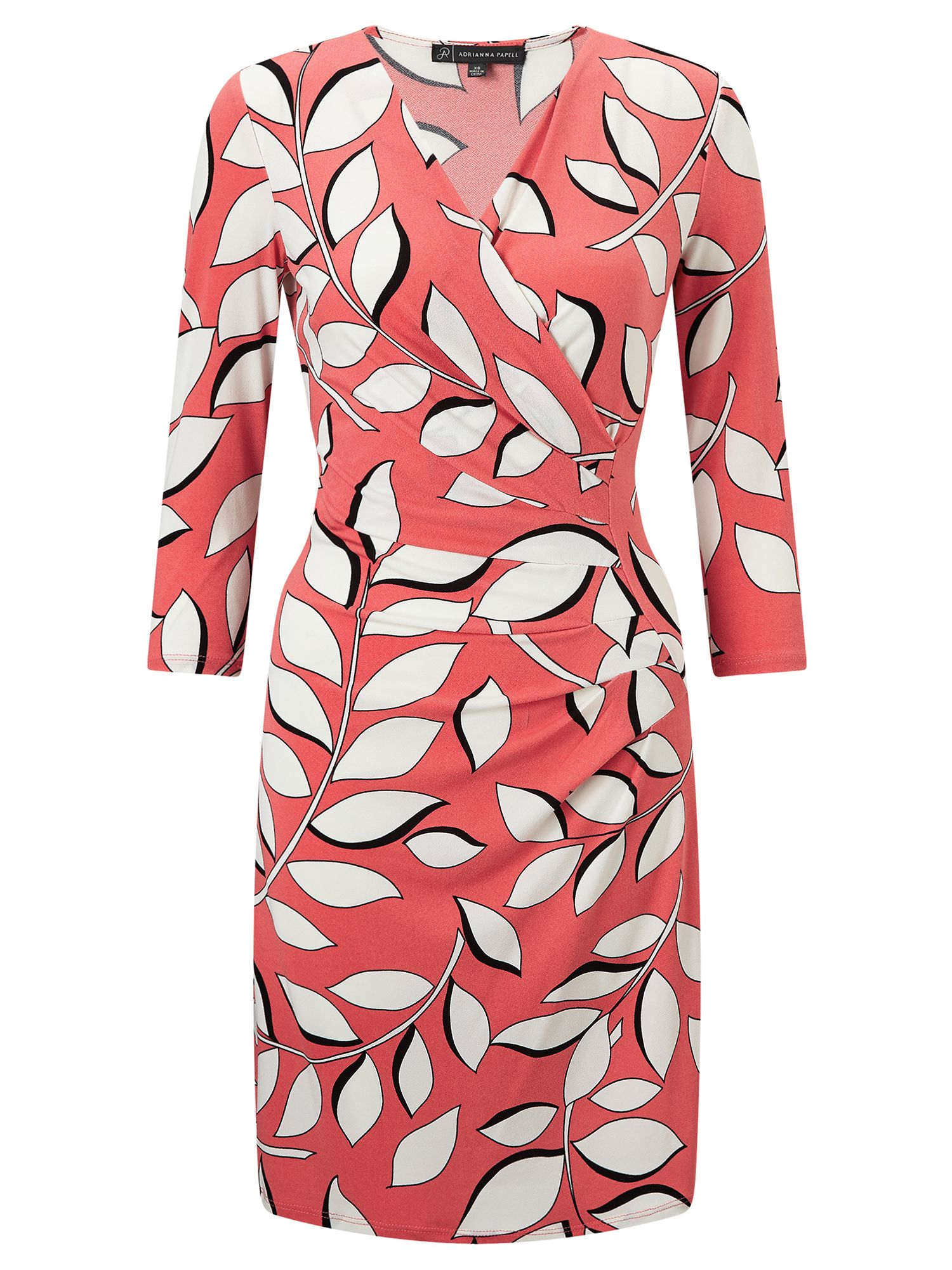 Adrianna Papell 3/4 sleeve leaf print wrap dress, Multi-Coloured