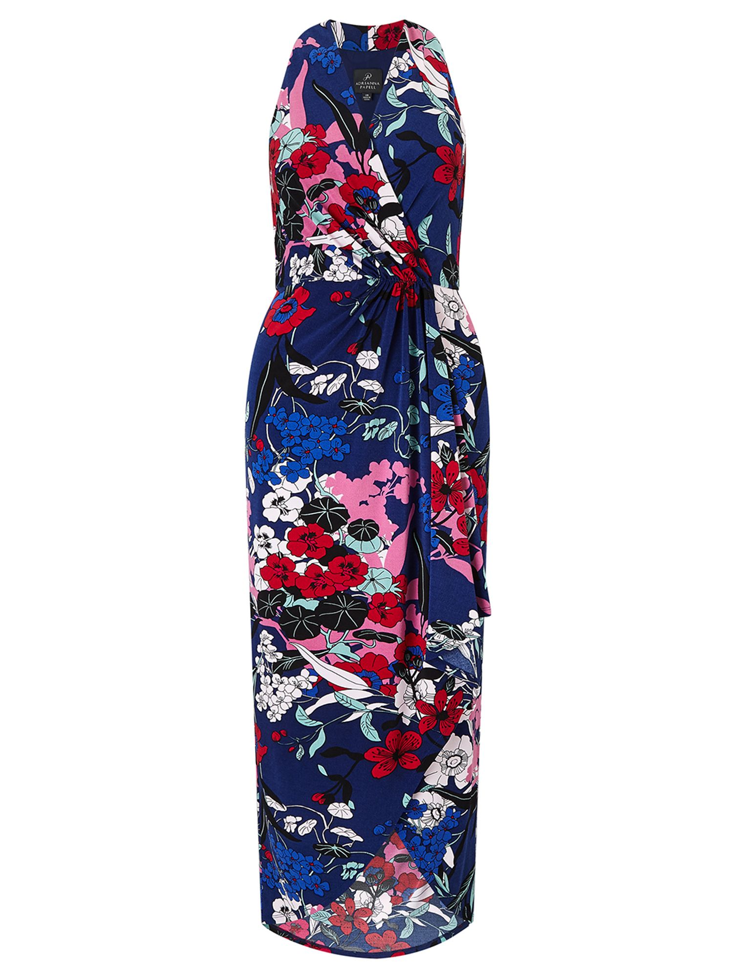 Adrianna Papell Halter neck high low wrap dress, Multi-Coloured