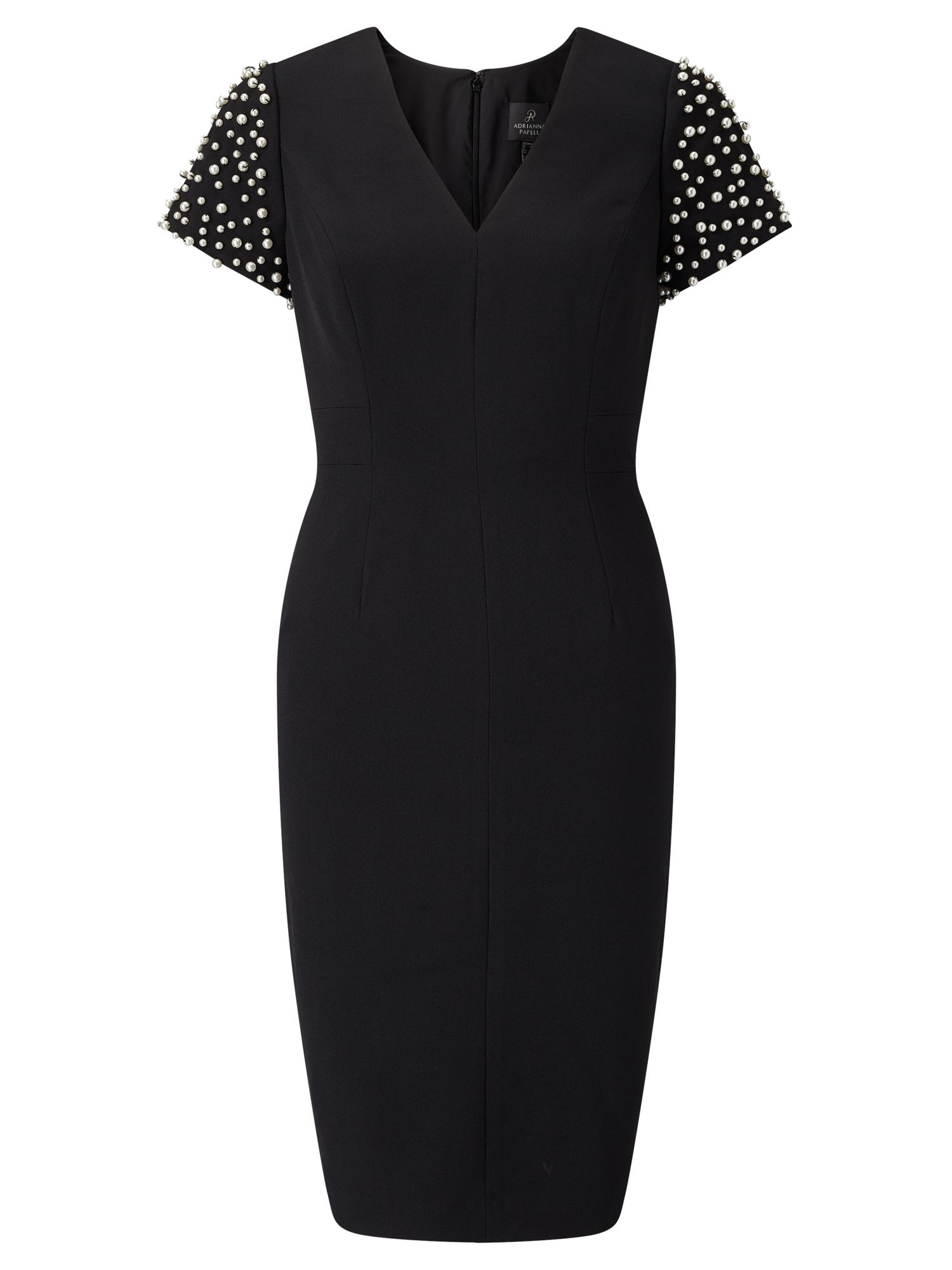 Adrianna Papell Pearl adorned shift dress, Black