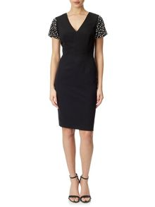 Adrianna Papell Pearl adorned shift dress