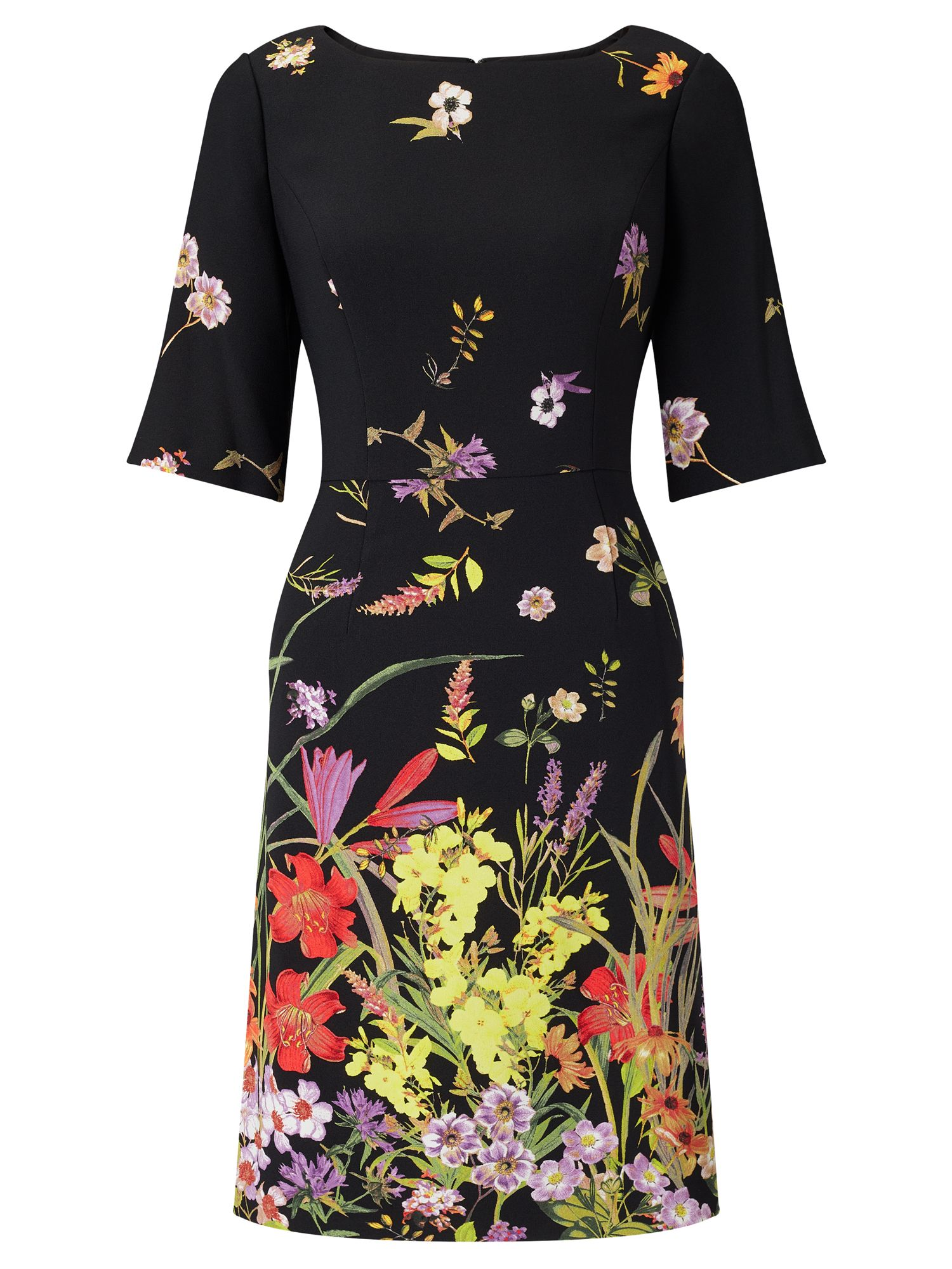 Adrianna Papell Floral crepe dress, Black Multi